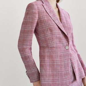 NEW Massimo Dutti Linen Checked Fitted Blazer